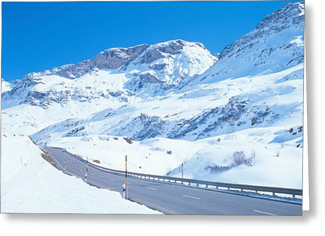 Graubunden Greeting Cards - Snow Covered Mountains On Both Sides Greeting Card by Panoramic Images