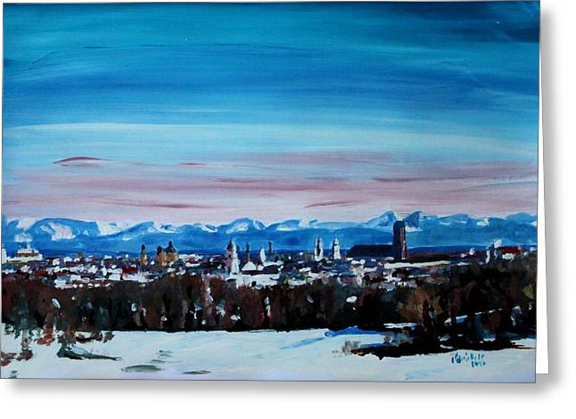 Snow Covered Munich Winter Panorama With Alps Greeting Card by M Bleichner