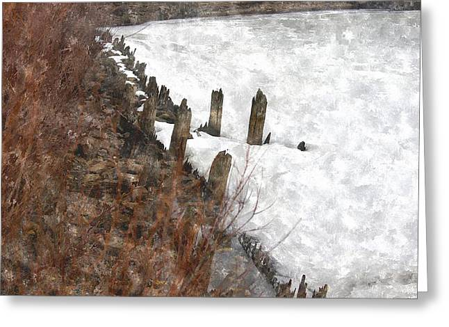 Anchor Underwater Greeting Cards - Snow Covered Muskegon Lake Harbor Boat Mooring  Greeting Card by Rosemarie E Seppala