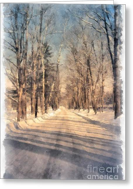 Snowy Roads Greeting Cards - Snow Covered New England Road Greeting Card by Edward Fielding