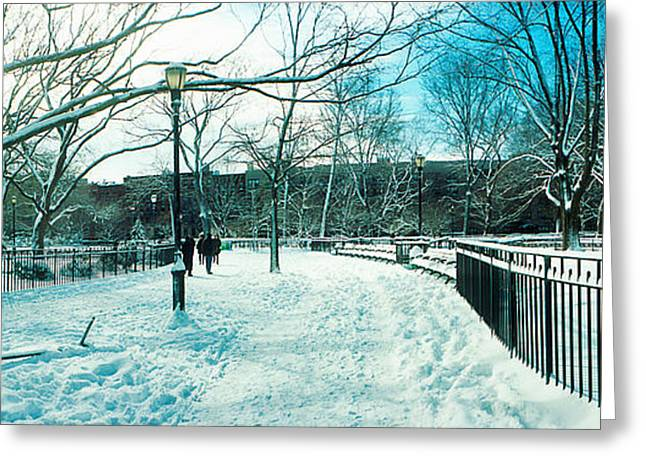 Lower East Side Greeting Cards - Snow Covered Park, Lower East Side Greeting Card by Panoramic Images