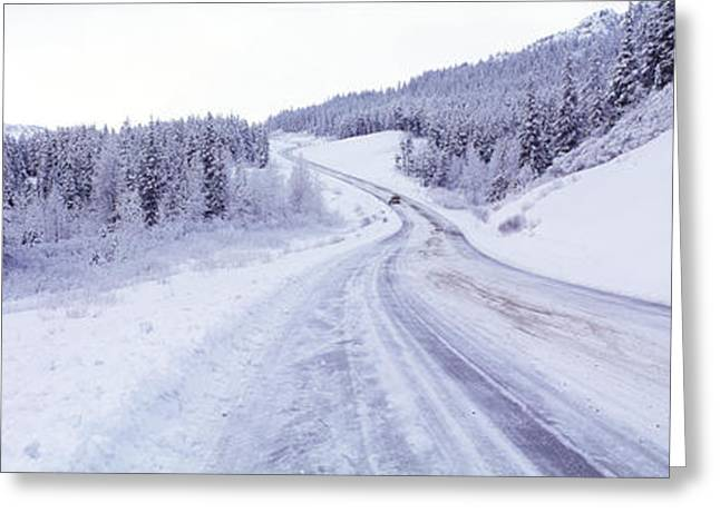 Temperature Greeting Cards - Snow Covered Road In Winter, Haines Greeting Card by Panoramic Images