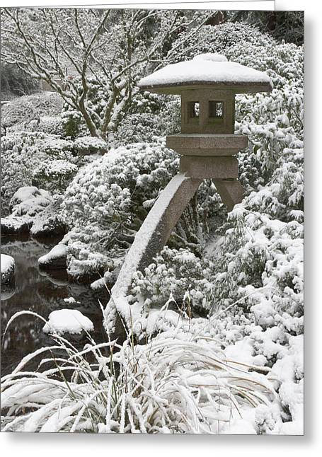 Snow-covered Stone Lantern, Portland Greeting Card by William Sutton