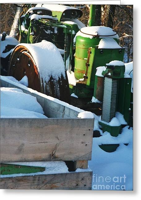 Essential Paintings Greeting Cards - Snow Covered Tractor Greeting Card by PainterArtist FIN