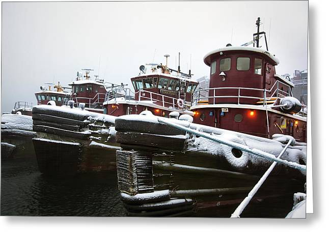 Best Sellers -  - New England Snow Scene Greeting Cards - Snow Covered Tugboats Greeting Card by Eric Gendron