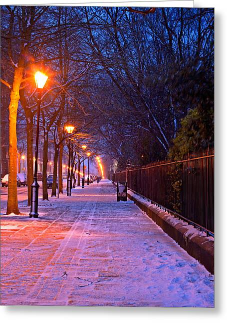 Snowy Night Night Greeting Cards - Snow covered urban street at nightime in mid winter Greeting Card by Ken Biggs