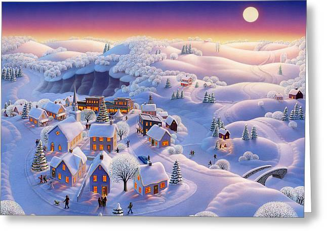 Seasonal Prints Rural Prints Greeting Cards - Snow Covered Village Greeting Card by Robin Moline