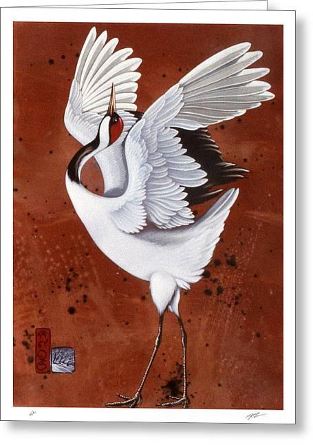 Snow Crane Greeting Card by Philip Slagter