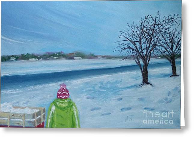 Wagon Pastels Greeting Cards - Snow Day In Jerseyville Greeting Card by Mary  Fields