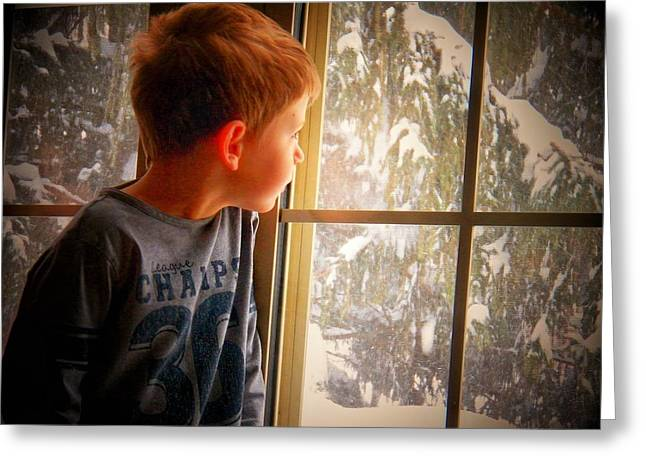 Little Boy Greeting Cards - Snow Day Greeting Card by Joyce Kimble Smith