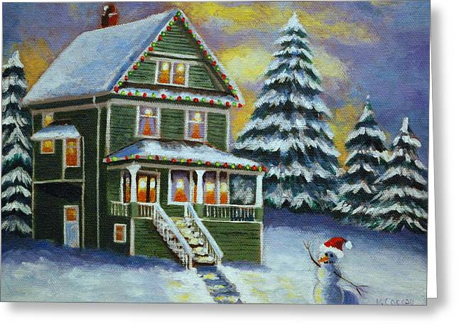 North Vancouver Paintings Greeting Cards - Snow Day Greeting Card by Melanie Cossey