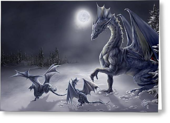 Dragon Greeting Cards - Snow Day Greeting Card by Rob Carlos