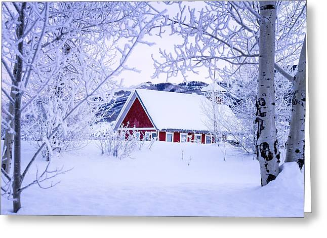 Old School House Greeting Cards - Snow Day Greeting Card by Teri Virbickis