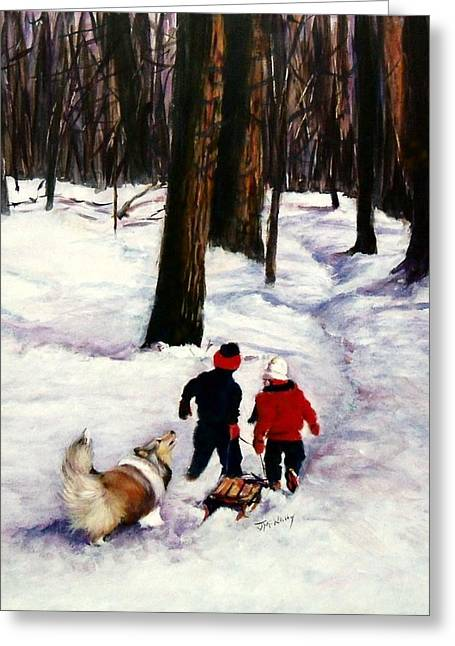 Sheepdog Greeting Cards - Snow Days Greeting Card by Jeanne  McNally