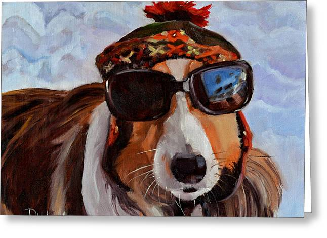 Snow Dog Greeting Card by Pattie Wall
