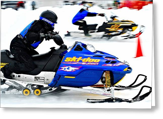 Winter Sports Picture Greeting Cards - Snow Drags - 10 Greeting Card by Don Mann