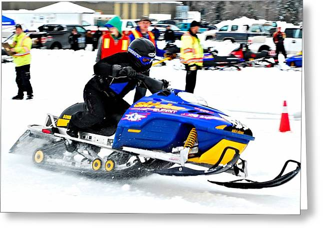 Winter Sports Picture Greeting Cards - Snow Drags - 12 Greeting Card by Don Mann