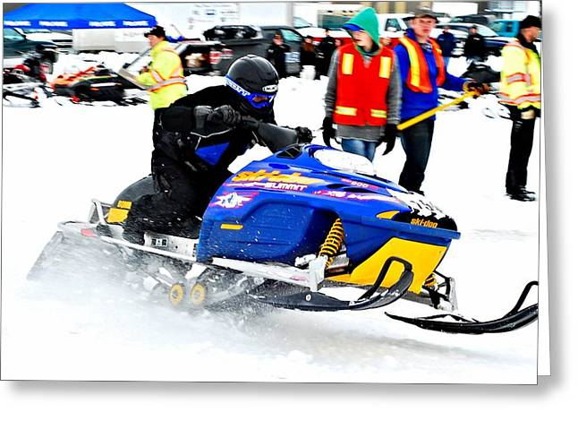 Ski Racing Art Greeting Cards - Snow Drags - 13 Greeting Card by Don Mann