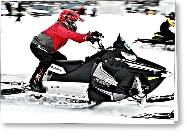 Winter Sports Picture Greeting Cards - Snow Drags - 14 Greeting Card by Don Mann