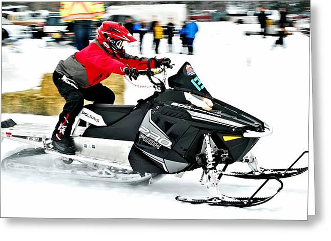 Winter Sports Picture Greeting Cards - Snow Drags - 15 Greeting Card by Don Mann