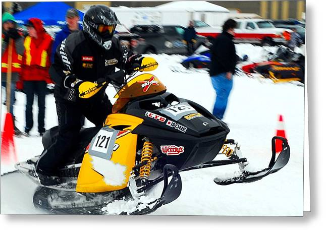 Winter Sports Picture Greeting Cards - Snow Drags - 4 Greeting Card by Don Mann