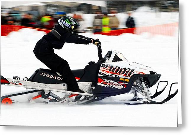 Winter Sports Picture Greeting Cards - Snow Drags - 5 Greeting Card by Don Mann