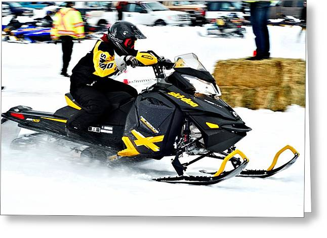 Winter Sports Picture Greeting Cards - Snow Drags - 6 Greeting Card by Don Mann
