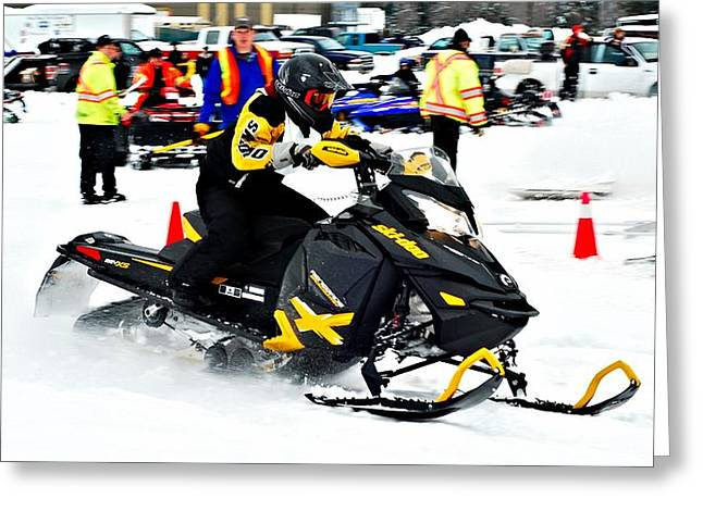 Winter Sports Picture Greeting Cards - Snow Drags - 7 Greeting Card by Don Mann