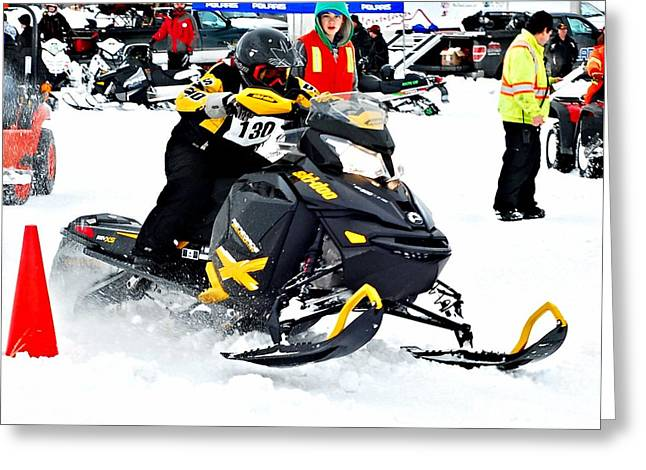 Winter Sports Picture Greeting Cards - Snow Drags - 9 Greeting Card by Don Mann