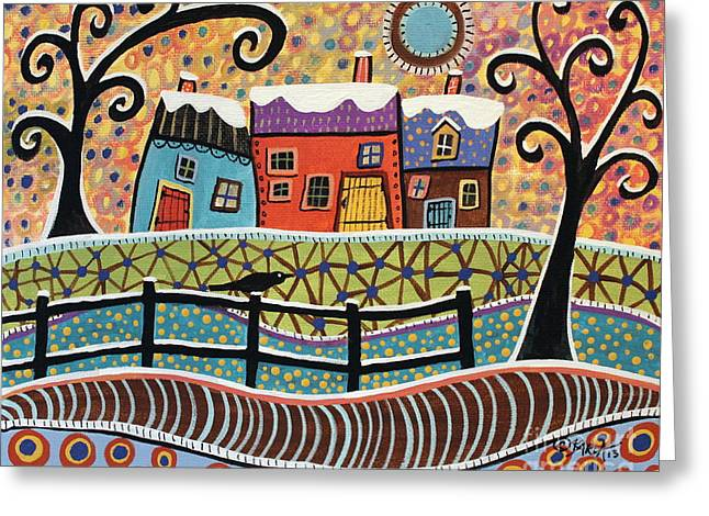 Folk Art Landscapes Greeting Cards - Snow Dusting Greeting Card by Karla Gerard