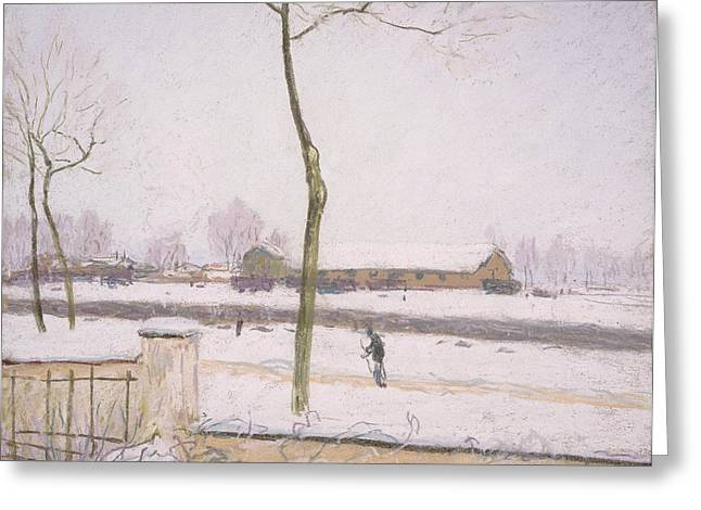 Snow Scene Landscape Greeting Cards - Snow Effect Effet De Neige Pastel On Paper C. 1880-1885 Greeting Card by Alfred Sisley