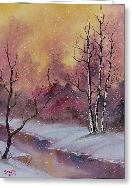Bob Ross Paintings Greeting Cards - Winter Enchantment Greeting Card by C Steele