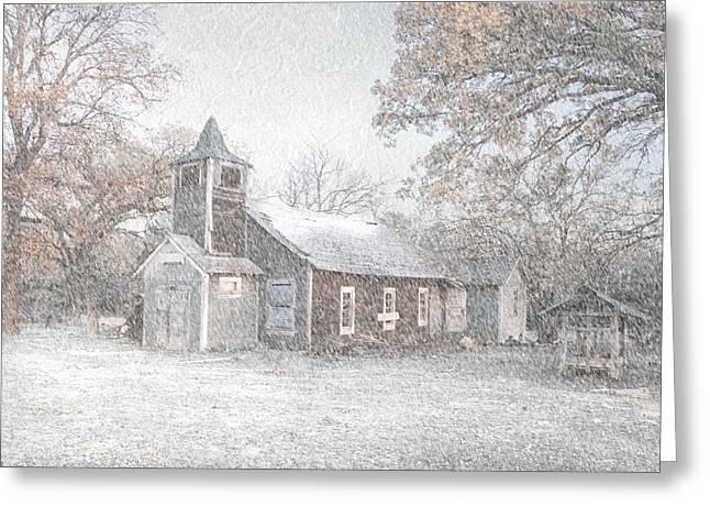 Cindy Rubin Greeting Cards - Snow Fall Old Church Greeting Card by Cindy Rubin