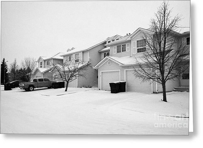 snow falling in residential street during winter Saskatoon Saskatchewan Canada Greeting Card by Joe Fox