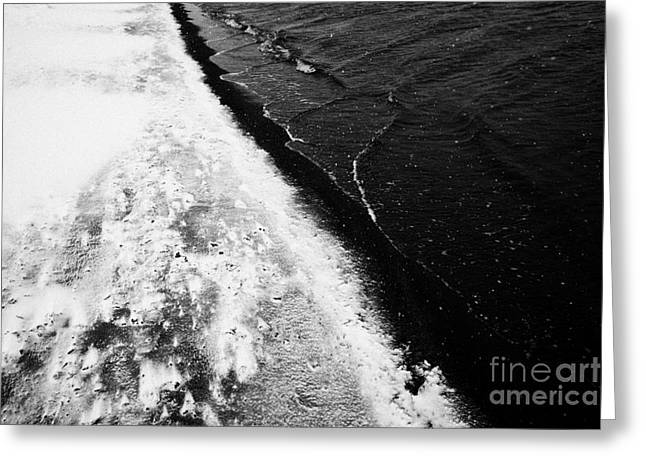 Deception Beach Greeting Cards - snow falling on black volcanic sand in caldera whalers bay deception island Antarctica Greeting Card by Joe Fox