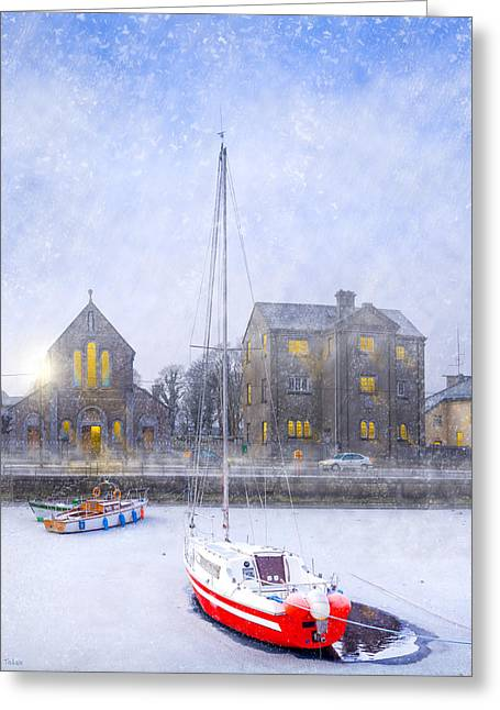 Snowy Night Night Greeting Cards - Snow Falling On The Claddagh Church - Galway Greeting Card by Mark Tisdale
