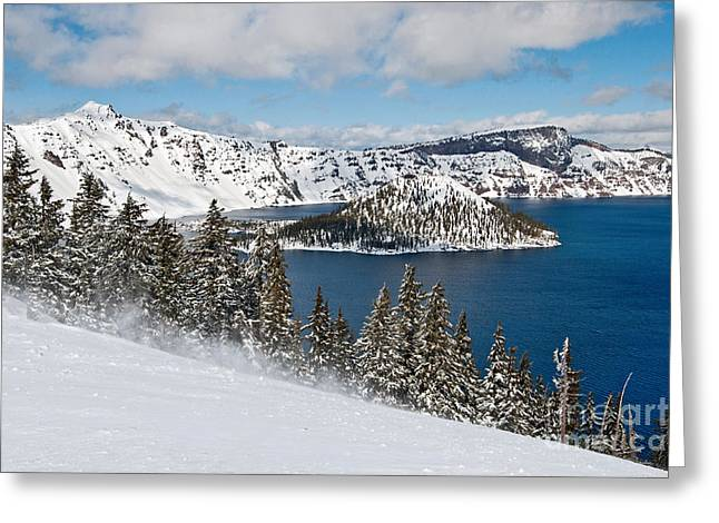 Blowing Snow Greeting Cards - Snow Flurry - Crater Lake covered in snow in the winter. Greeting Card by Jamie Pham