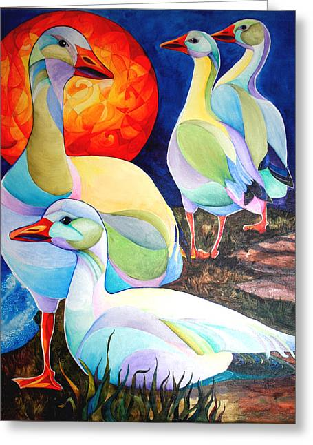 Snow Geese Paintings Greeting Cards - Snow Geese Greeting Card by Sherry Shipley