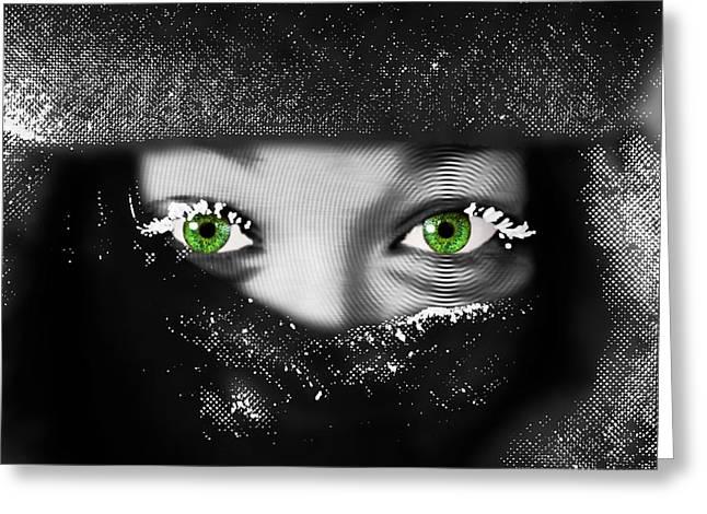Eyebrow Mixed Media Greeting Cards - Snow Girl Horizontal Greeting Card by Tony Rubino