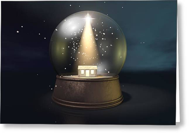 Star Of Bethlehem Greeting Cards - Snow Globe Nativity Scene Night Greeting Card by Allan Swart