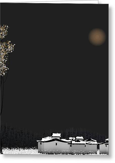 Abstract Trees Greeting Cards - Snow Greeting Card by GuoJun Pan