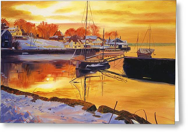 Docked Sailboats Paintings Greeting Cards - Snow Harbor Greeting Card by David Lloyd Glover