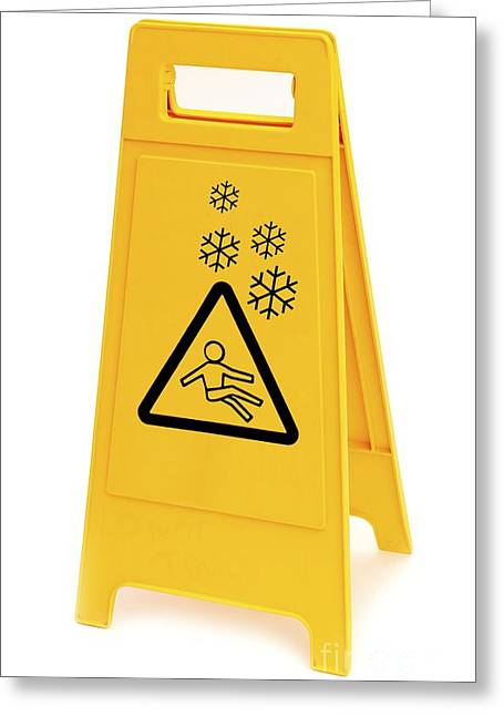 Sleet Greeting Cards - Snow Hazard Warning Sign Greeting Card by Leeds Teaching Hospitals NHS Trust