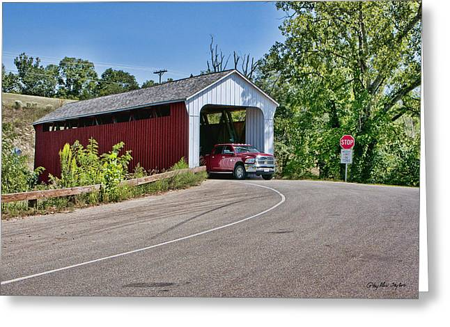 Snow-covered Landscape Greeting Cards - Snow Hill Covered Bridge Greeting Card by Phyllis Taylor