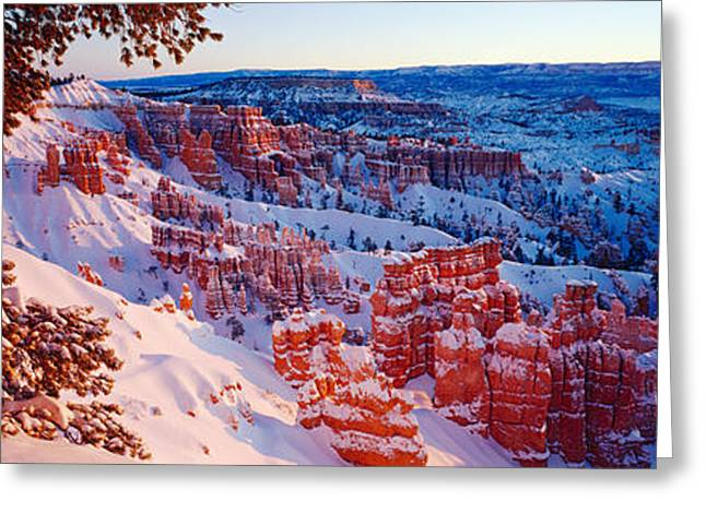 Non Urban Scene Greeting Cards - Snow In Bryce Canyon National Park Greeting Card by Panoramic Images