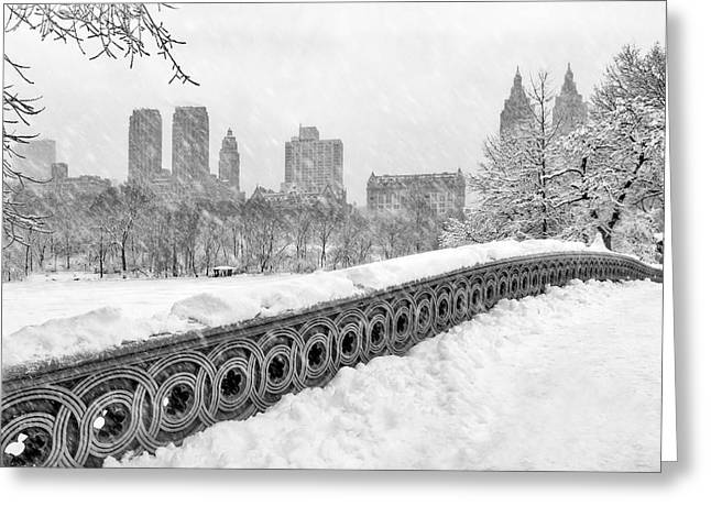 Central Park West Greeting Cards - Snow In Central Park NYC Greeting Card by Susan Candelario