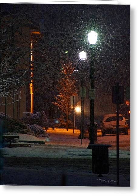 Snow In Downtown Grants Pass - 5th Street Greeting Card by Mick Anderson