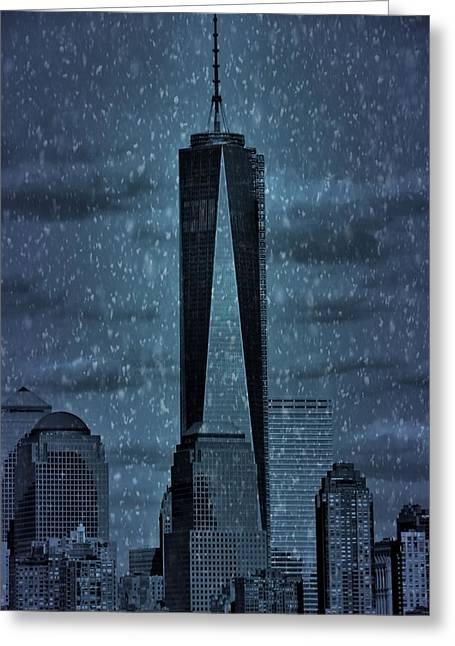 Center City Mixed Media Greeting Cards - Snow In New York City Greeting Card by Dan Sproul