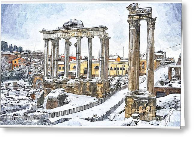 Old Town Digital Greeting Cards - Snow in Rome Greeting Card by Stefano Senise