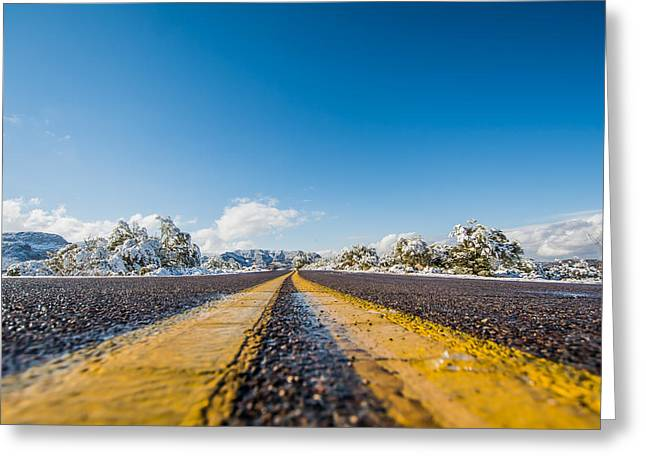 Streetview Greeting Cards - Snow in Southern Arizona? Greeting Card by Stacy Fortson